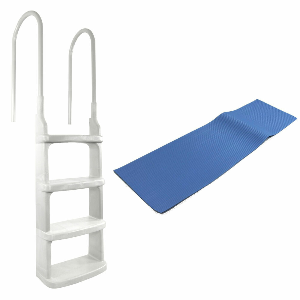 Main access 200200 easy incline above ground in pool swimming pool ladder w mat ebay for Above ground swimming pool ladder parts