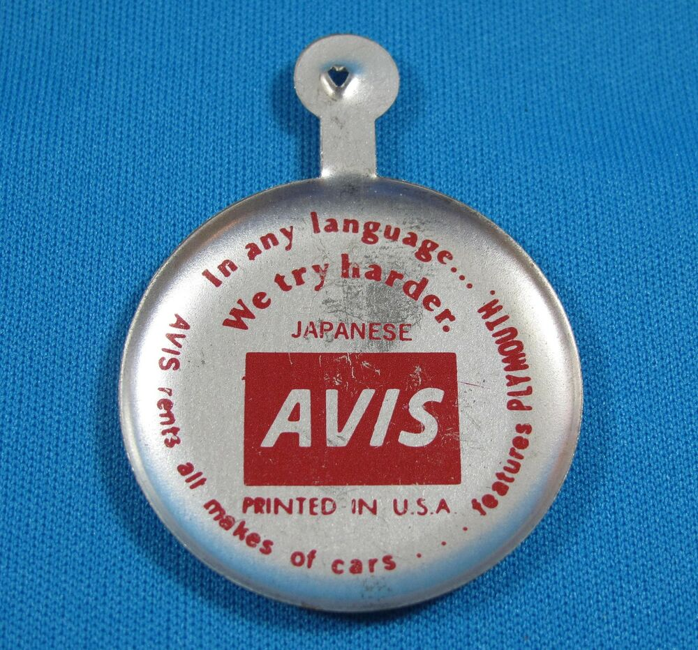 avis car rental japanese we try harder slogan folding metal button pin vintage ebay. Black Bedroom Furniture Sets. Home Design Ideas