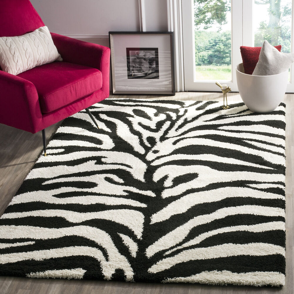 Safavieh Zebra Shag Off-White/ Black Rug (5'3 X 7'6)
