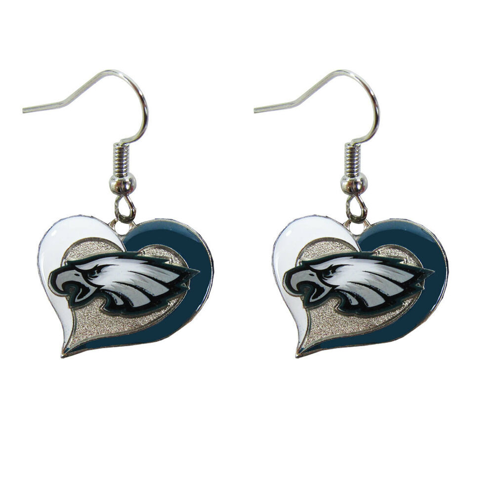 Brand new nfl philadelphia eagles swirl heart earring dangle charm