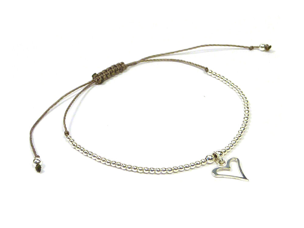 925 sterling silver adjustable cord friendship charm