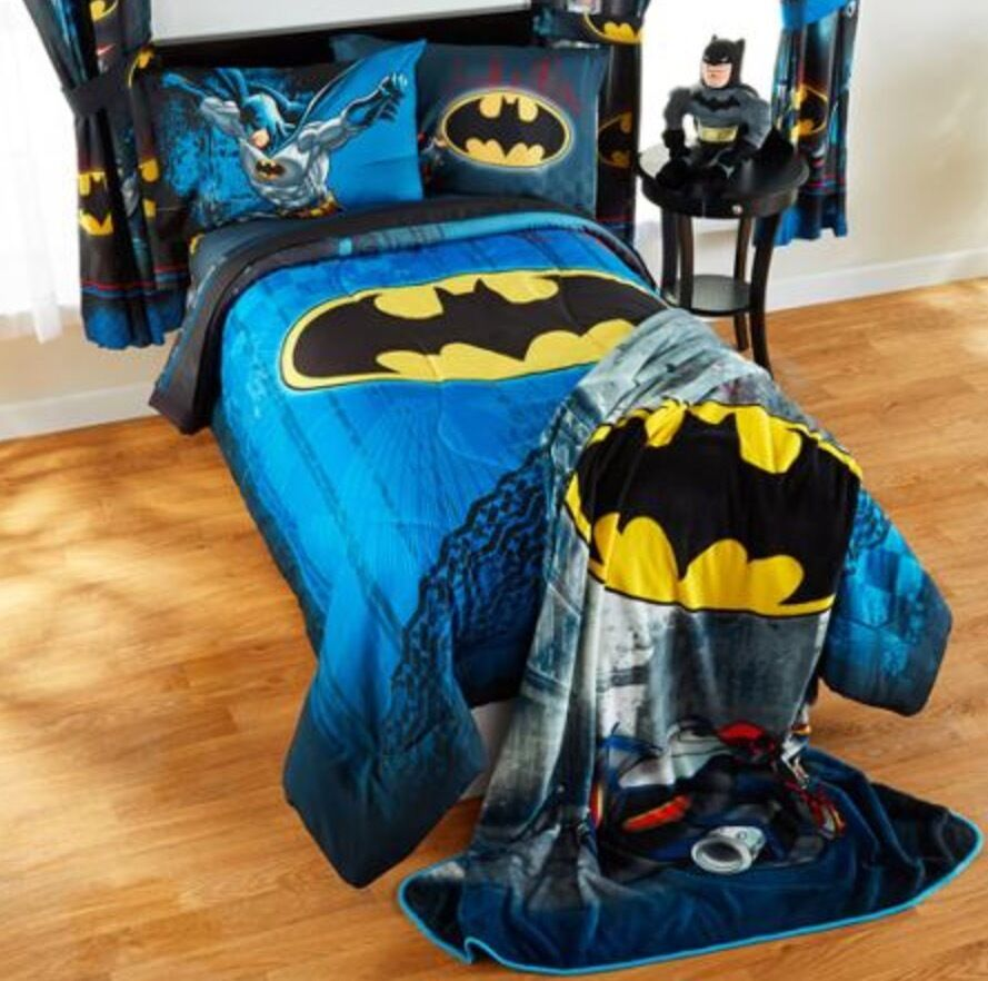 5pc batman full-double reversible comforter+sheets set bed in a
