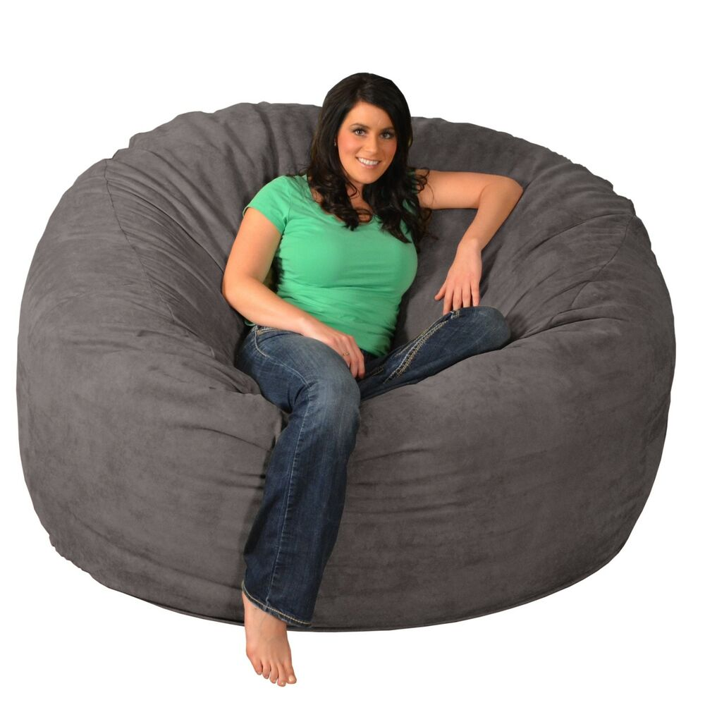 giant memory foam bean bag 6 foot chair ebay. Black Bedroom Furniture Sets. Home Design Ideas