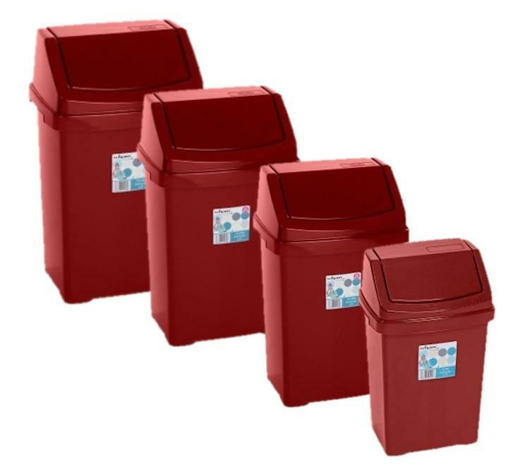 Wham high grade plastic chilli red flip top waste rubbish kitchen bin dustbin ebay - Top plastic krukje ...