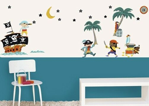 kinder wandtattoo piraten wandsticker kinderzimmer home sticker aufkleber ebay. Black Bedroom Furniture Sets. Home Design Ideas