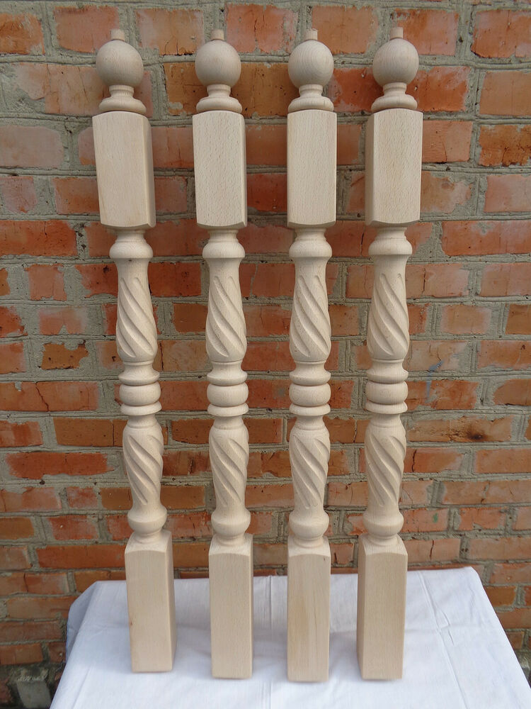 Stair Newel Spiral Twist Carved Wood Post Balcony
