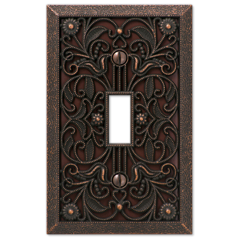Arabesque Filigree Aged Bronze Switchplate Outlet cover