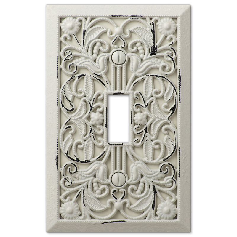 Arabesque filigree antique white switchplate outlet cover wall switch plates ebay - Wall switch plates decorative ...