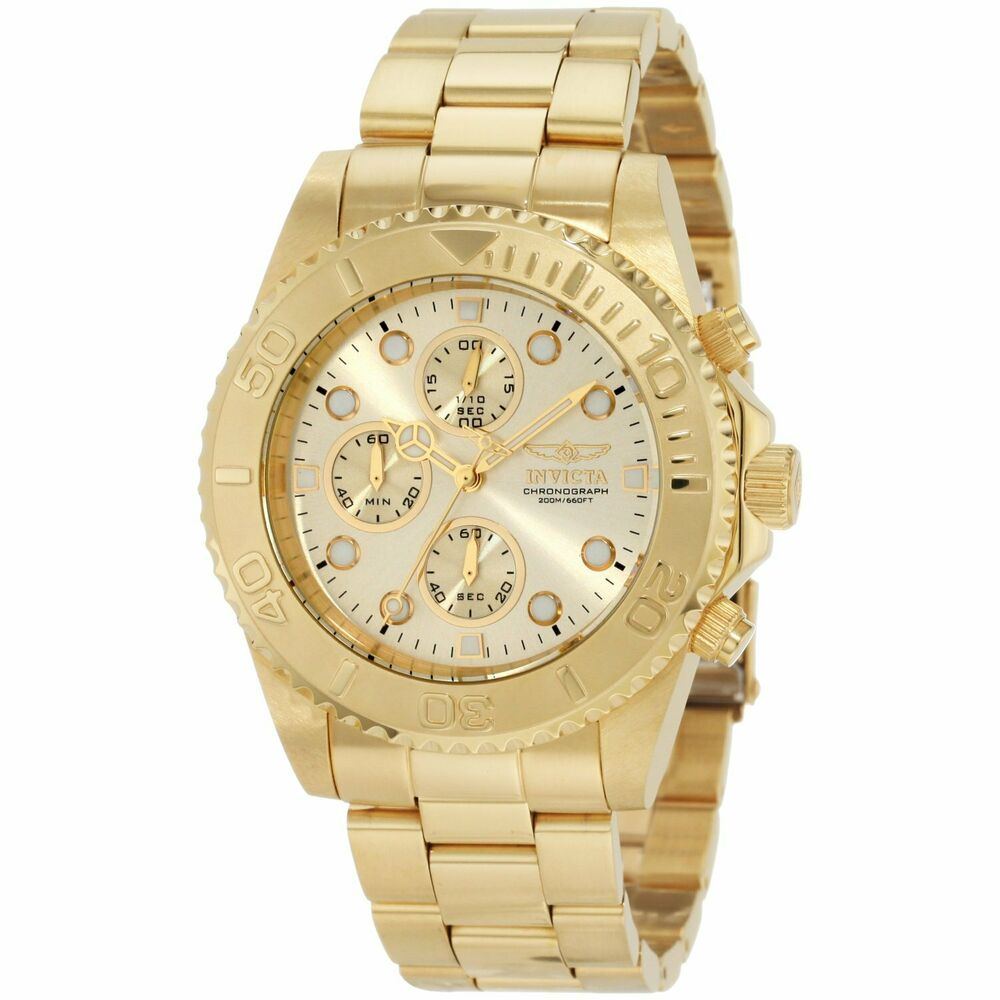 invicta men 39 s gold tone quartz chronpgraph watch 1774 ebay