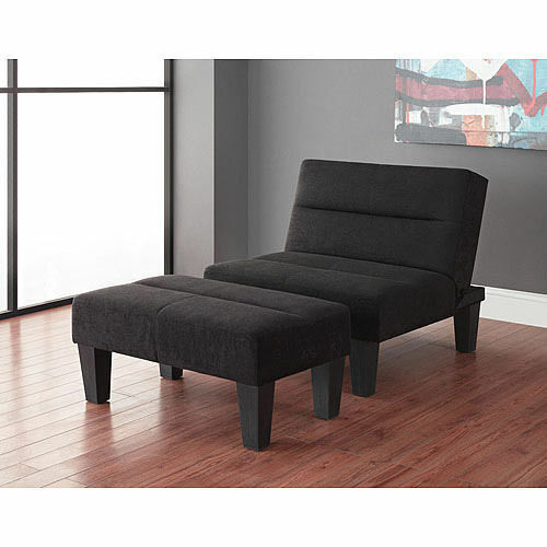 New Lounge Chair And Ottoman Futon Bundle Black Accent Living Room Bedroom Do