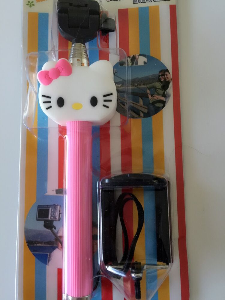 hello kitty girl monopod extension stick selfie for iphone samsung iphone camera ebay. Black Bedroom Furniture Sets. Home Design Ideas