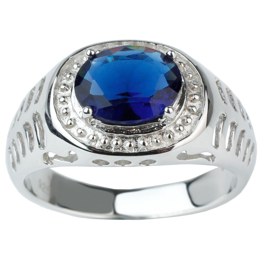 8x10 Oval Sapphire Blue Stone 925 Sterling Silver Ring for ... Silver Rings For Men With Blue Stone