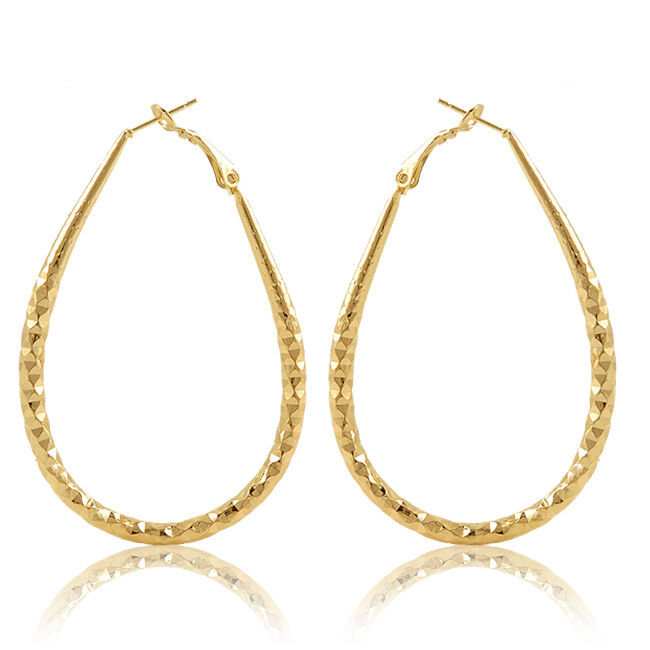 Womens 14k Gold Plated Big Oval Circle Ear Hoop European ...