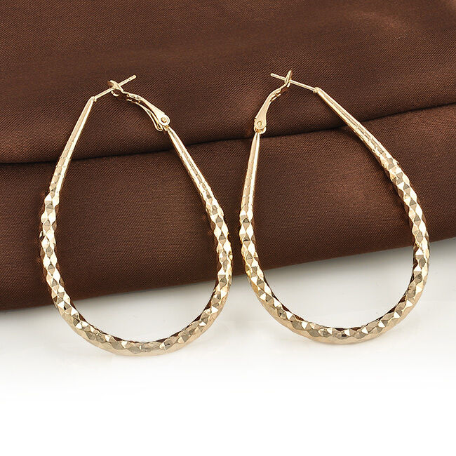 Fashion womens 14k gold plated big oval circle ear hoop for Is gold plated jewelry worth anything
