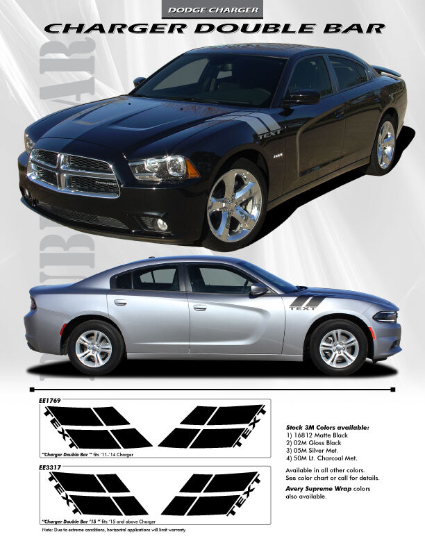 For Dodge Charger Ee1769 Double Bar Graphics Kit Decals