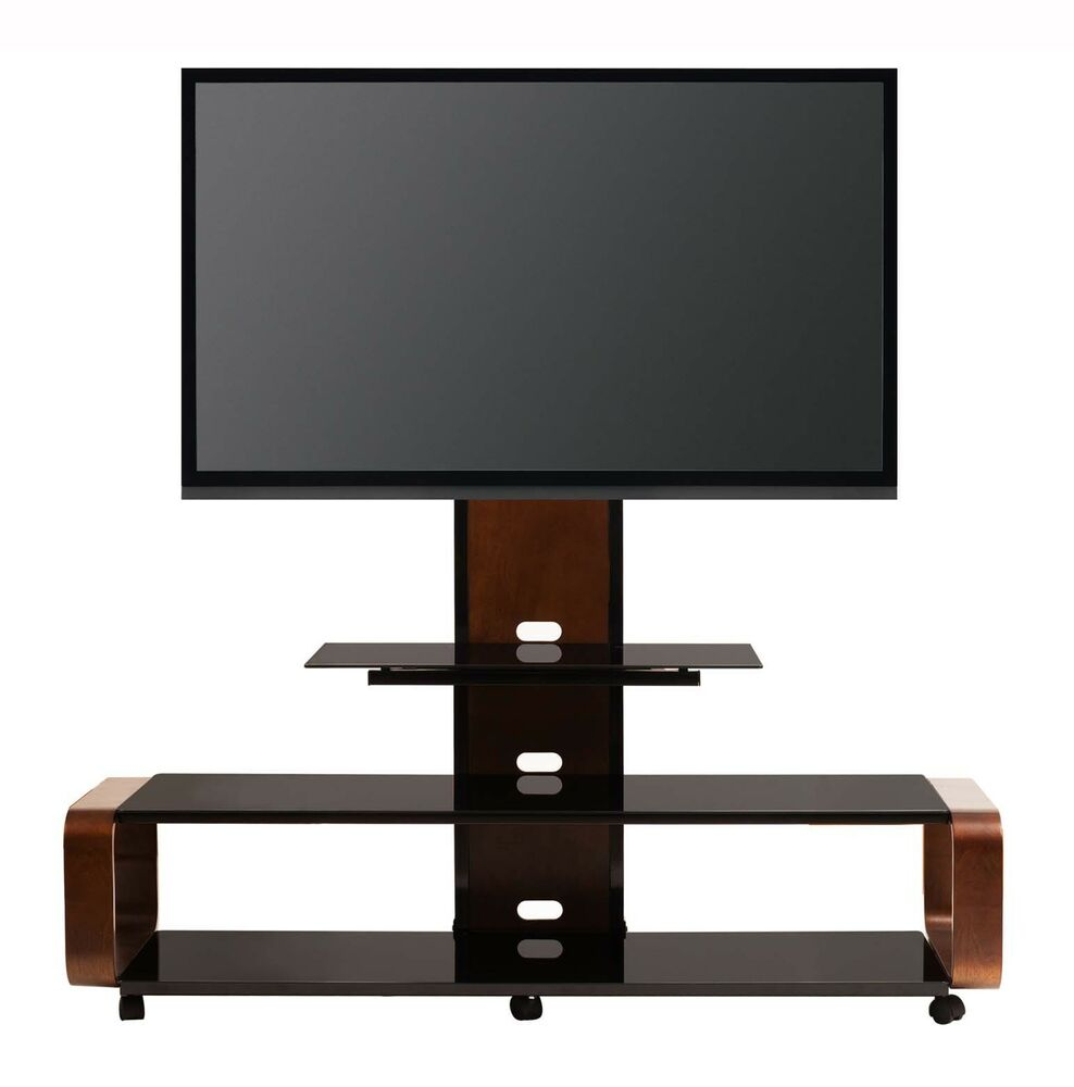 transdeco tv stand w universal mount caster for 40 50 60 65 70 80 lcd led tv ebay. Black Bedroom Furniture Sets. Home Design Ideas