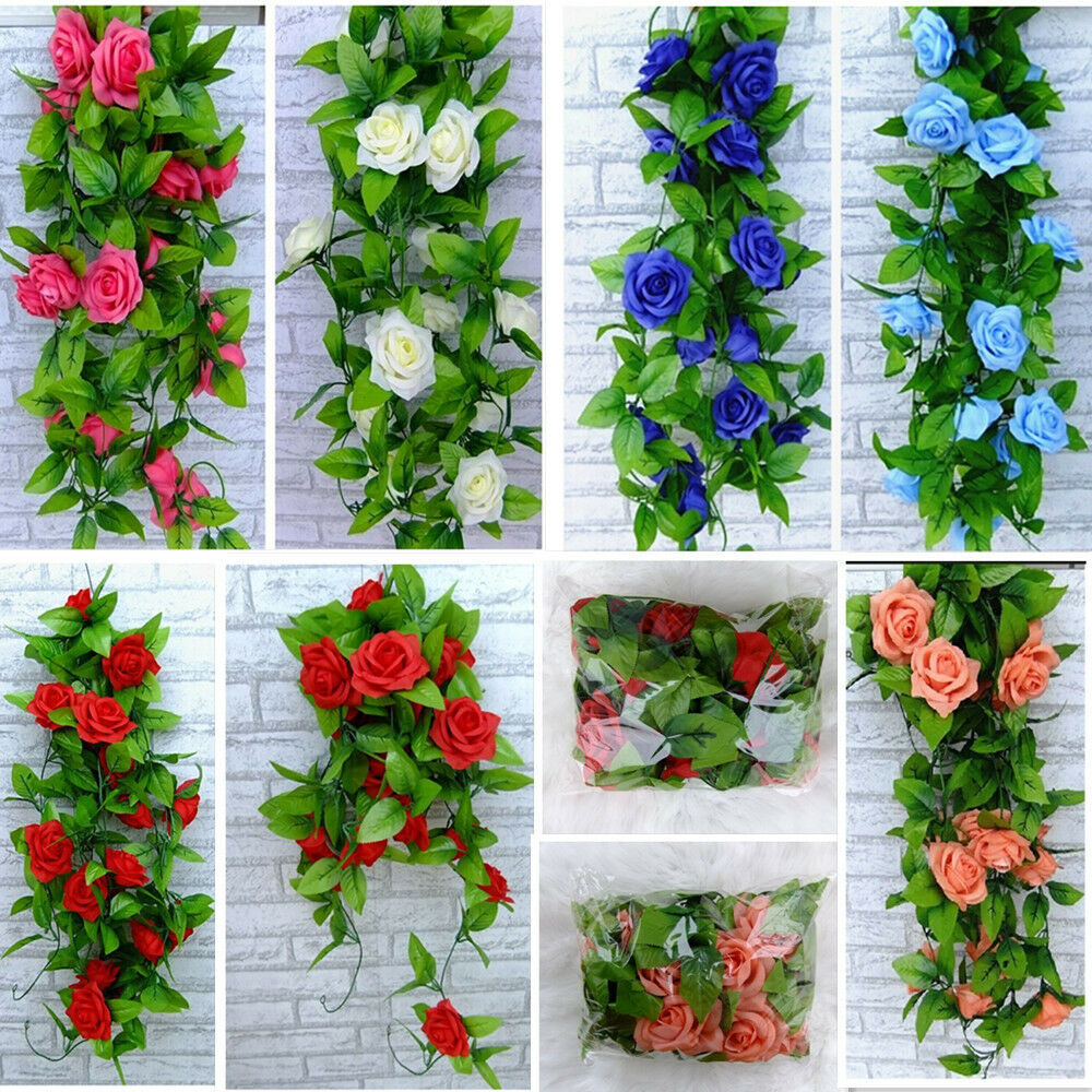 Flowers Decoration For Home: Artificial Rose Silk Flowers Ivy Vine Leaf Garland Wedding