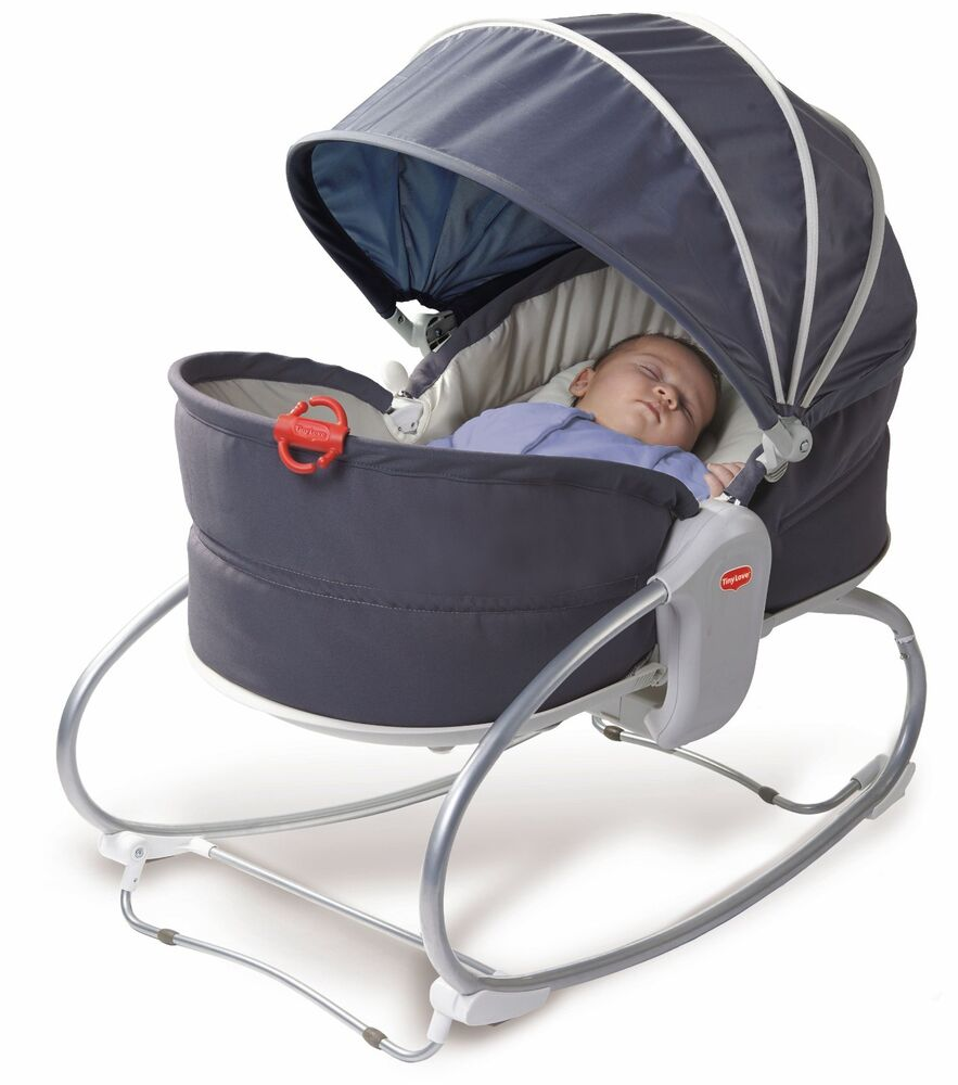 Tiny Love Baby Cozy Rocker Napper Seat Travel Bassinet Play Sleep W Hood Grey Ebay