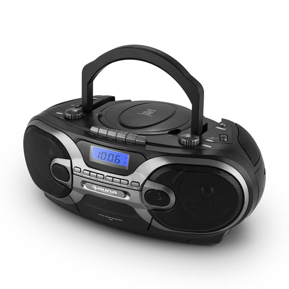 portable stereo hifi anlage kassetten deck radio cd player. Black Bedroom Furniture Sets. Home Design Ideas