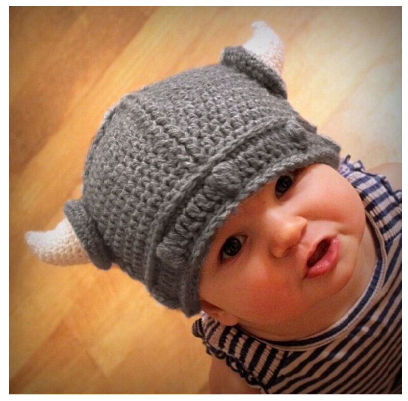 New Children Infant Handmade Crochet Winter Hat Kid Viking ...