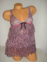 Pink Lingerie Teddy Babydoll & Panty Set Lace Trim Sexy Sheer Leopard Small NWT