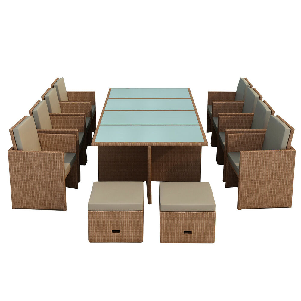 gartenm bel essgruppe bogota braun braun 8 personen polyrattan neu aluminium ebay. Black Bedroom Furniture Sets. Home Design Ideas