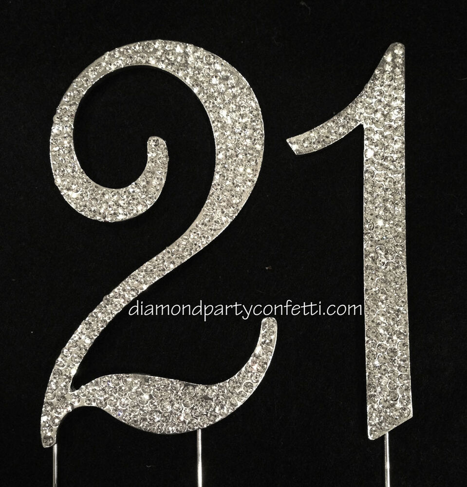 Large Rhinestone Crystal Covered 21 21st Birthday ...