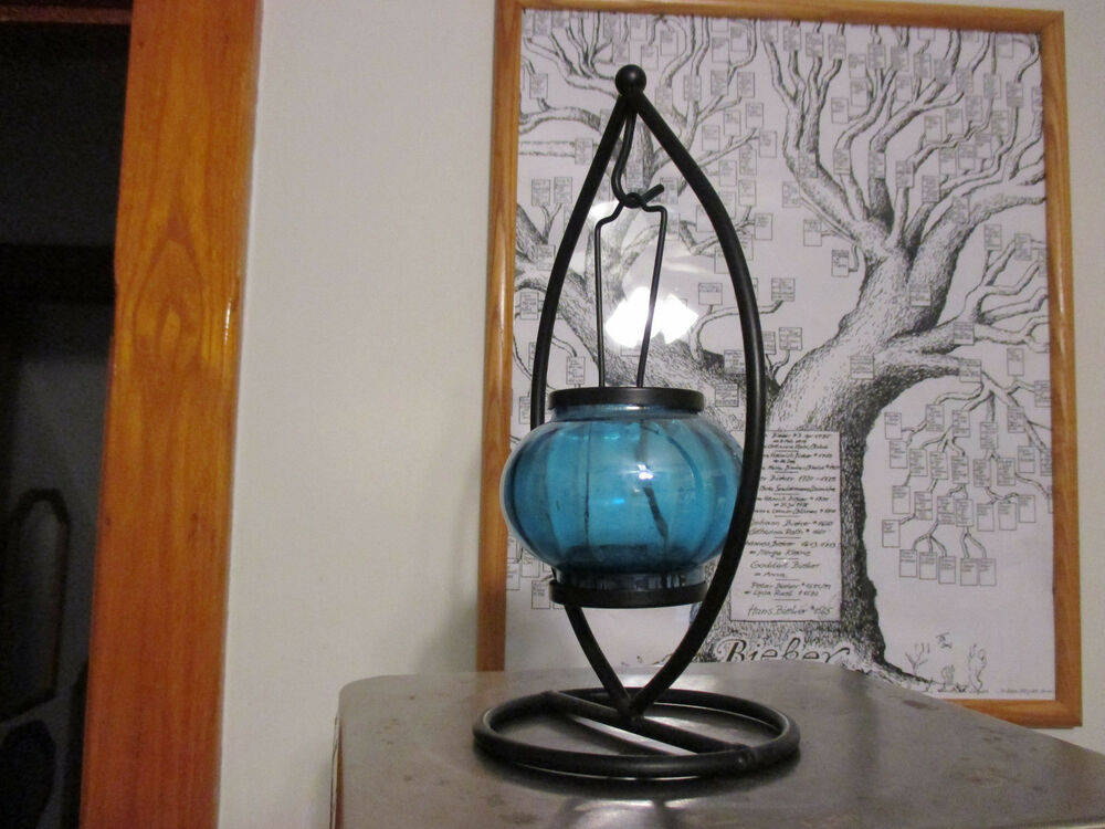 Vintage wrought iron blue glass votive candle holder for Hanging votive candles