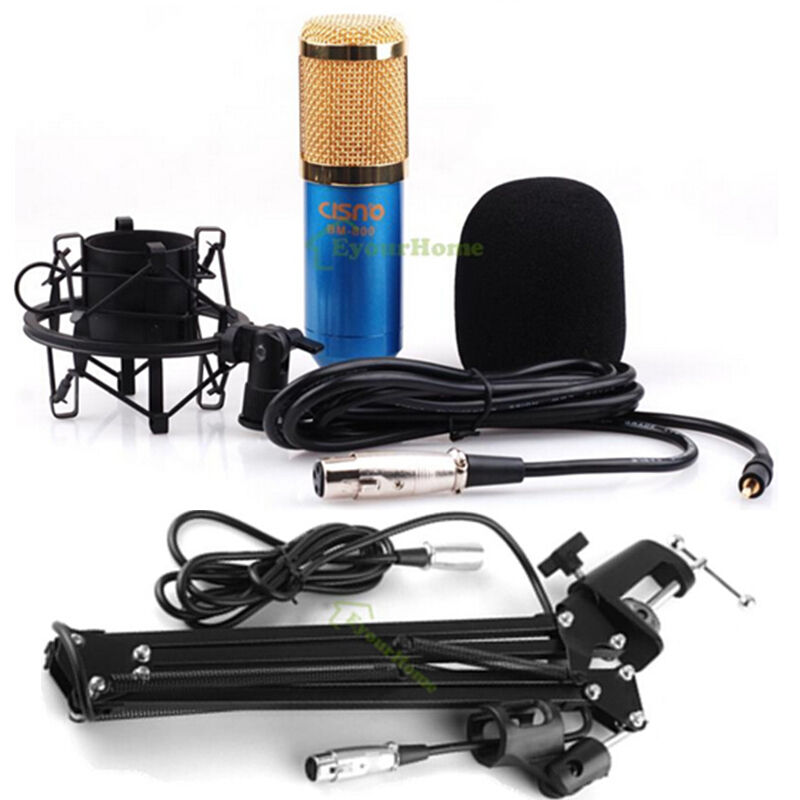 pro condenser microphone mic studio sound recording broadcasting w arm stand set ebay. Black Bedroom Furniture Sets. Home Design Ideas