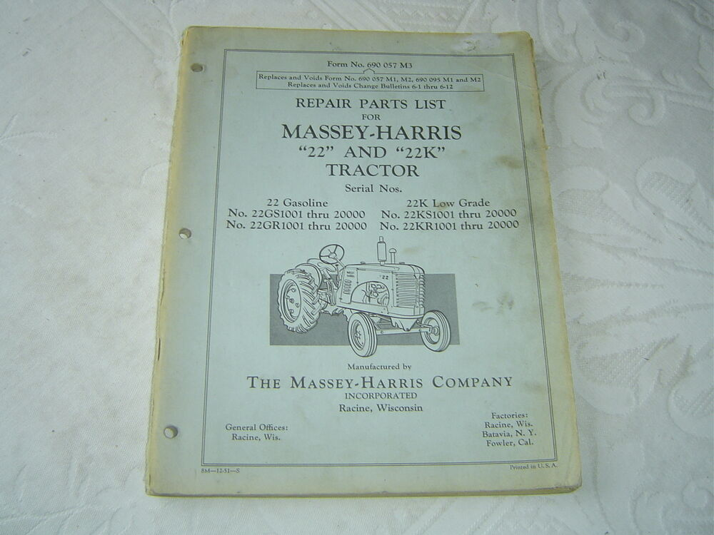 Massey Ferguson Tractors Parts Catalog : Massey ferguson harris mh k tractor parts list