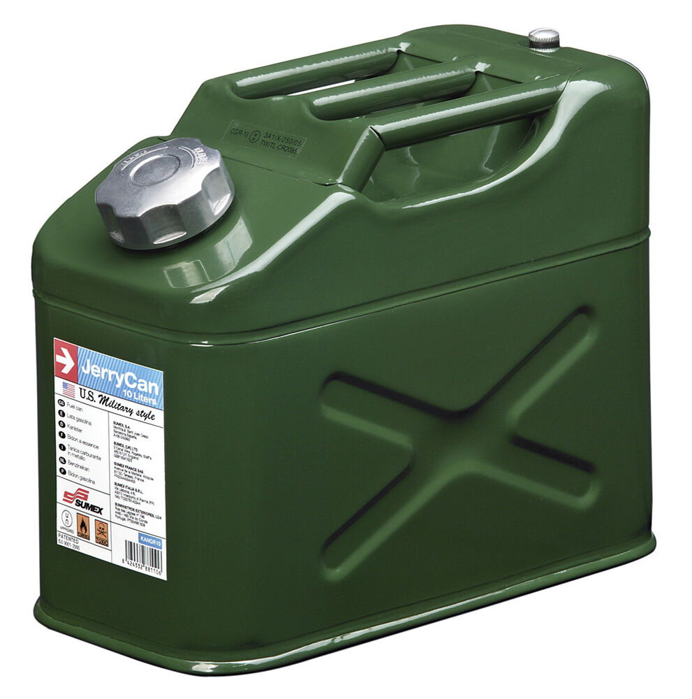 sumex durable galvanized steel military jerry fuel oil water can container 10l ebay. Black Bedroom Furniture Sets. Home Design Ideas