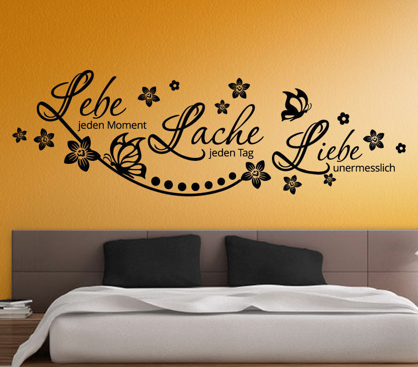 wandtattoo wandaufkleber wandsticker schlafzimmer spr che lebe lache liebe w3207 ebay. Black Bedroom Furniture Sets. Home Design Ideas