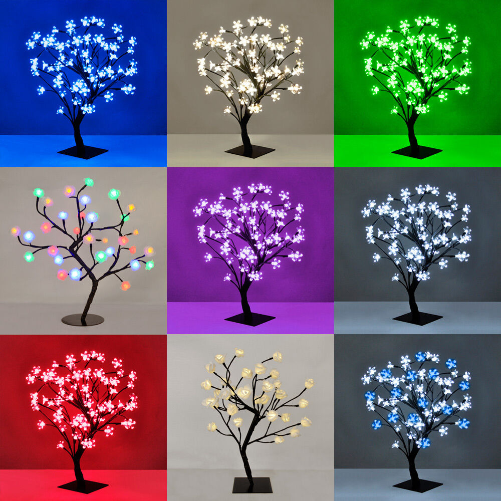Modern 72 Led Cherry Blossom Roses Bonsai Tree Fairy