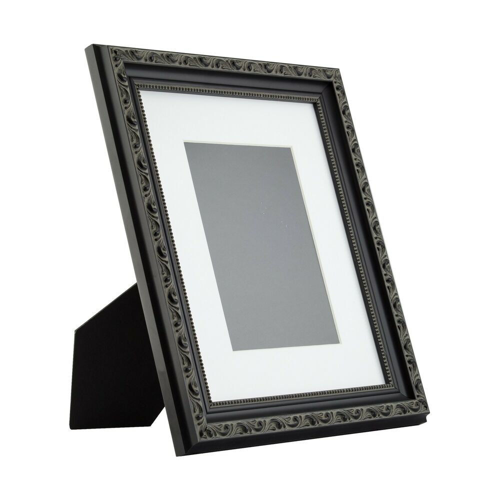 ancien ornate table top 8x10 antique black standing picture frame with mat ebay. Black Bedroom Furniture Sets. Home Design Ideas