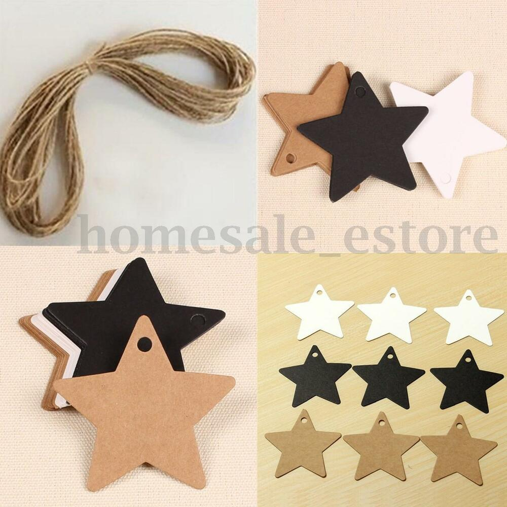 Wedding Gift Card Value : 100pcs Star Kraft Paper Wedding Party Favor Gift Card Price Label ...