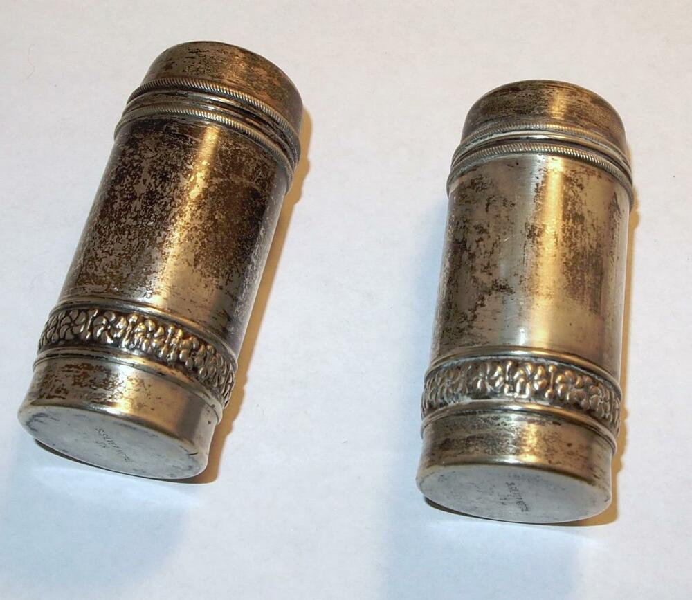 VINTAGE DECORATIVE SALT and PEPPER S  u0026 P SHAKERS SILVER METAL   eBay