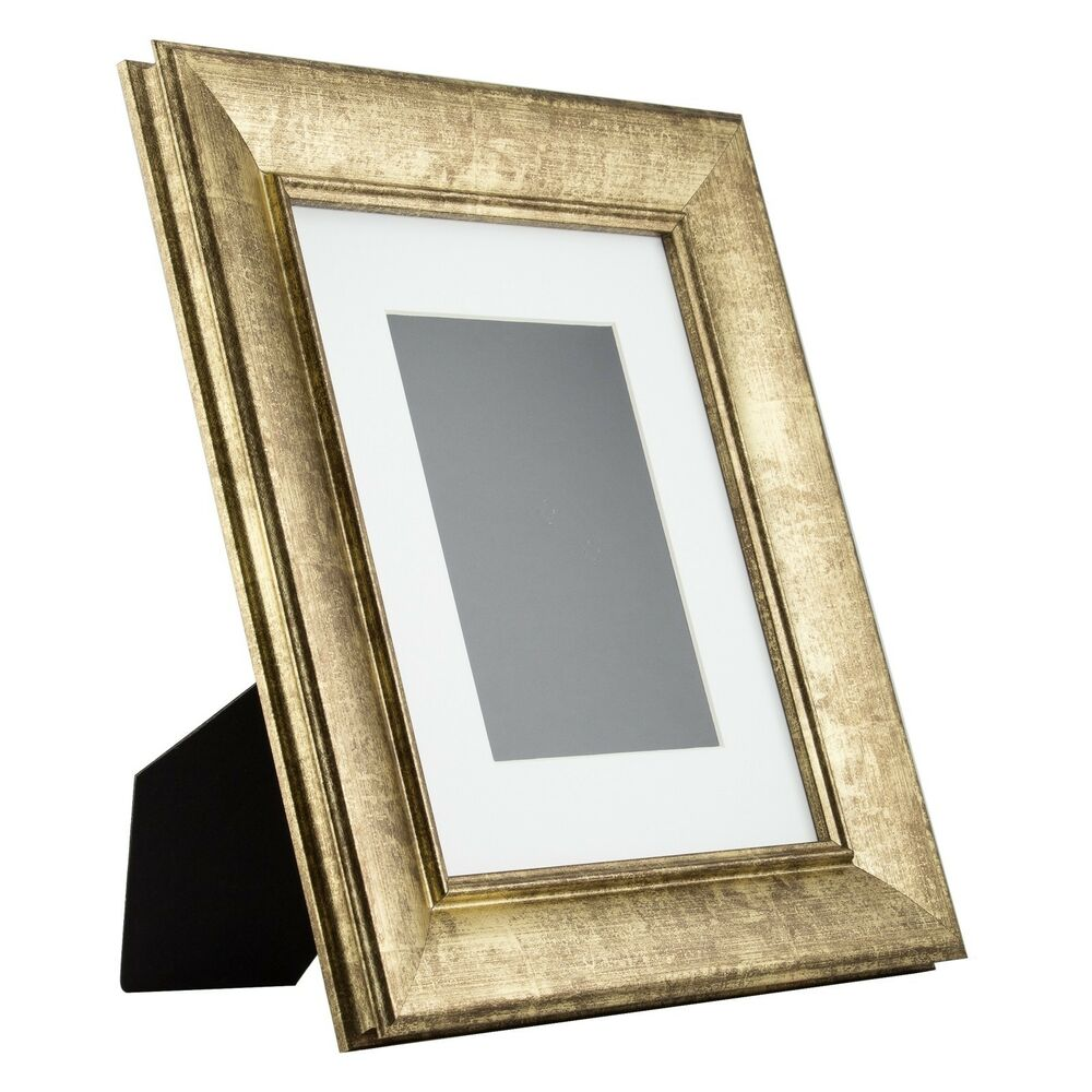verandah table top 8x10 vintage aged gold standing picture frame with mat ebay. Black Bedroom Furniture Sets. Home Design Ideas