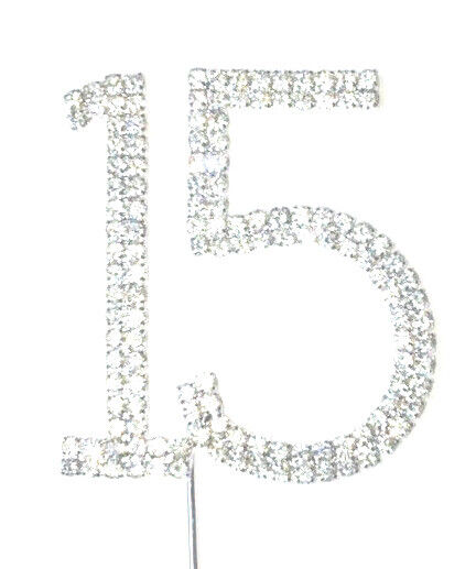 Rhinestone Number 15 Silver Crystal Quinceanera Birthday