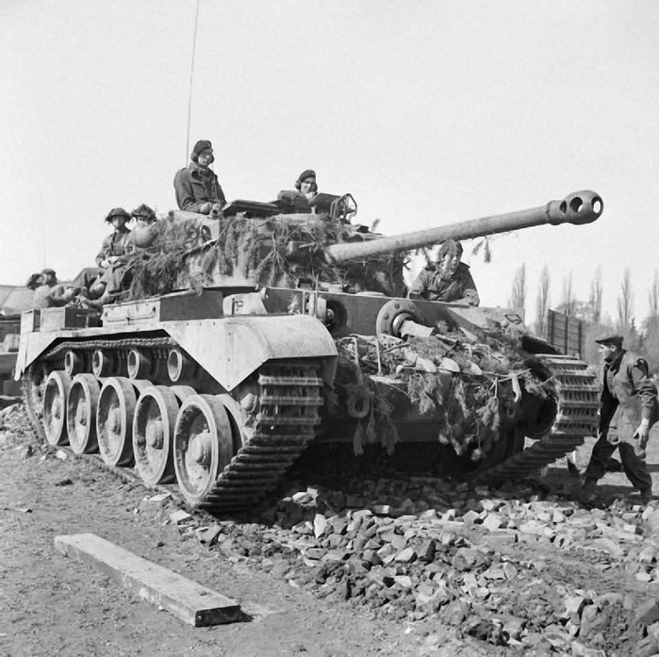 WWII B&W Photo British Comet Tank 11th Armor Weser Germany ...