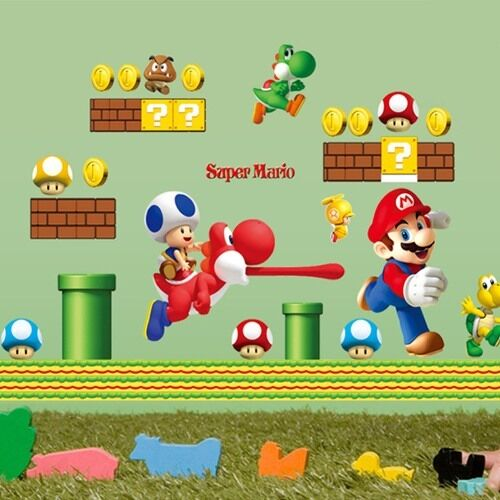 super mario wandaufkleber wandsticker wandtattoo wanddeko kinderzimmer ebay. Black Bedroom Furniture Sets. Home Design Ideas