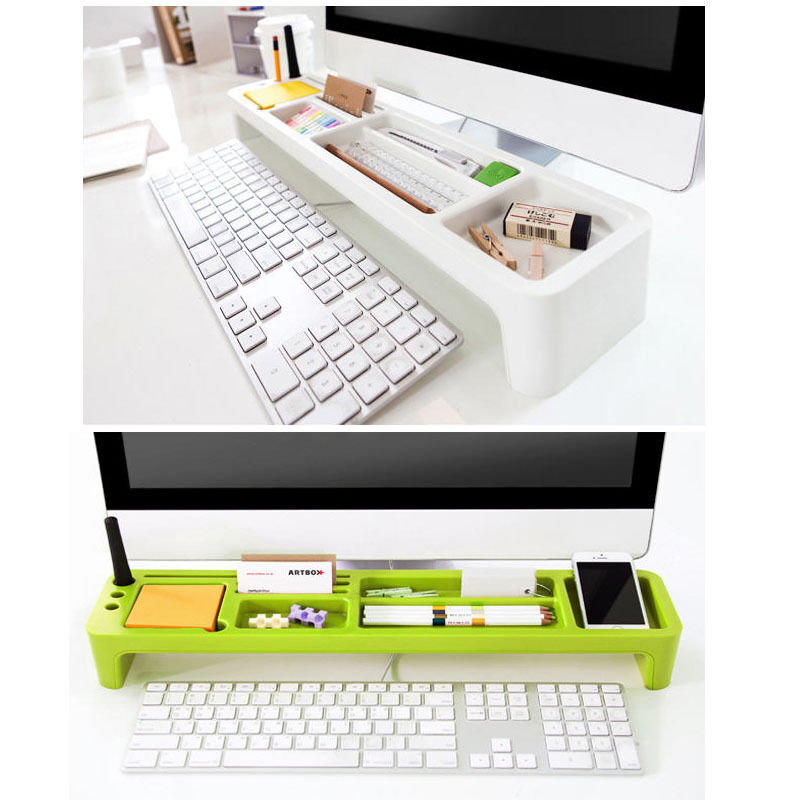 Monitors Desktop Organizer Box Desk Storage Holder Stationery Organizer Tray Ebay