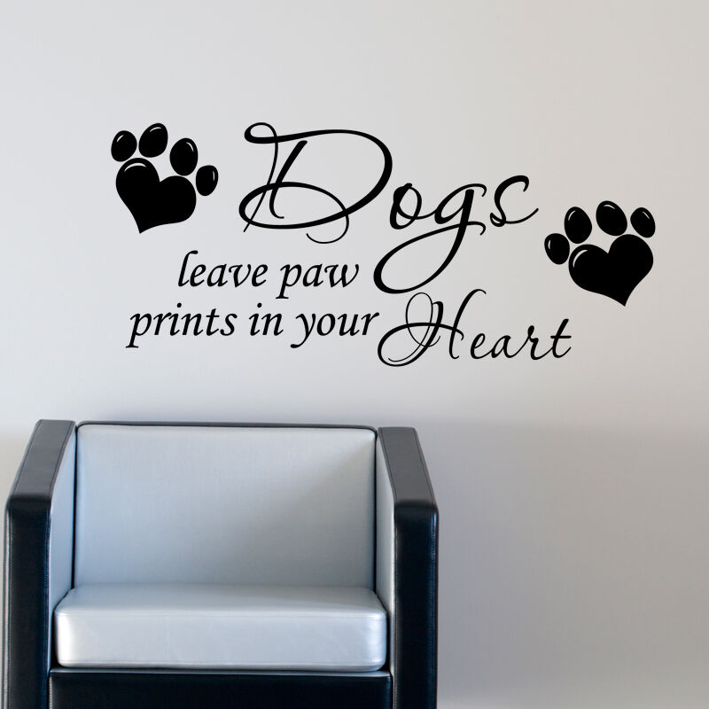 dog wall sticker leave paw prints on your heart art pet grooming