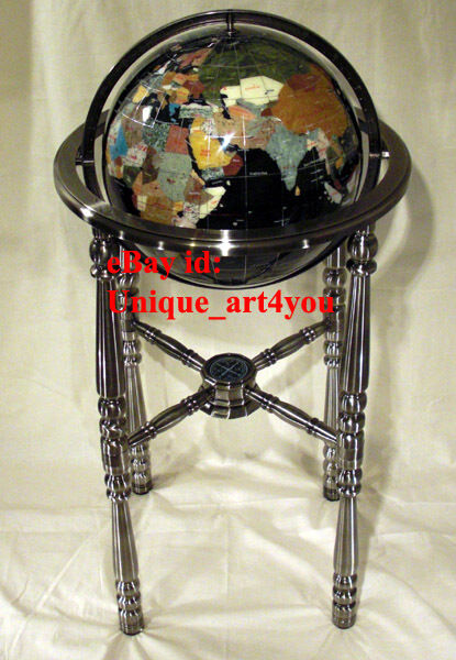 36 Quot Tall Black Gemstone Globe With Four Leg Silver Stand