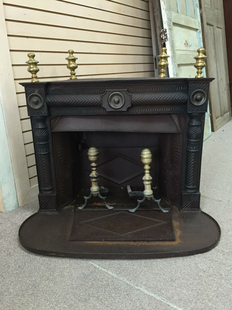 Gorgous Ornate Cast Iron Fireplace W Brass Finials Brass Andirons Ca 19th C Ebay