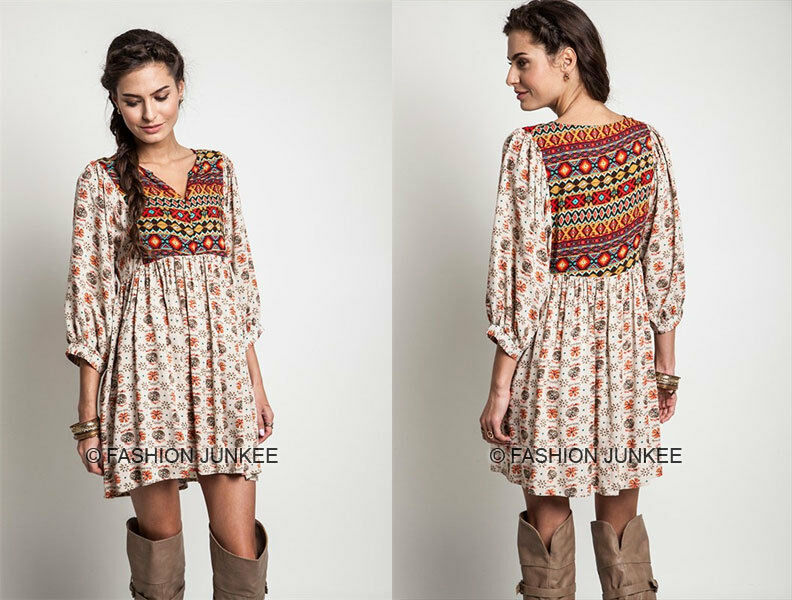 Taupe 01 printed tunic shirt dress bohemian boho baby for Is a tunic a dress or a shirt