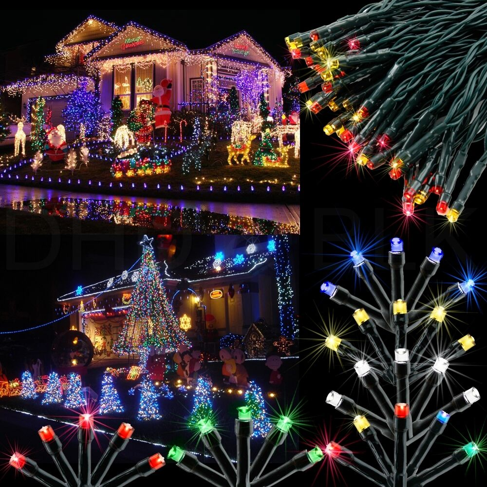 100 led solar power fairy light string lamp party - Large bulb exterior christmas lights ...