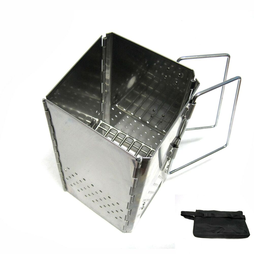 Stainless Steel Folding Charcoal Starter With Pouch Bbq