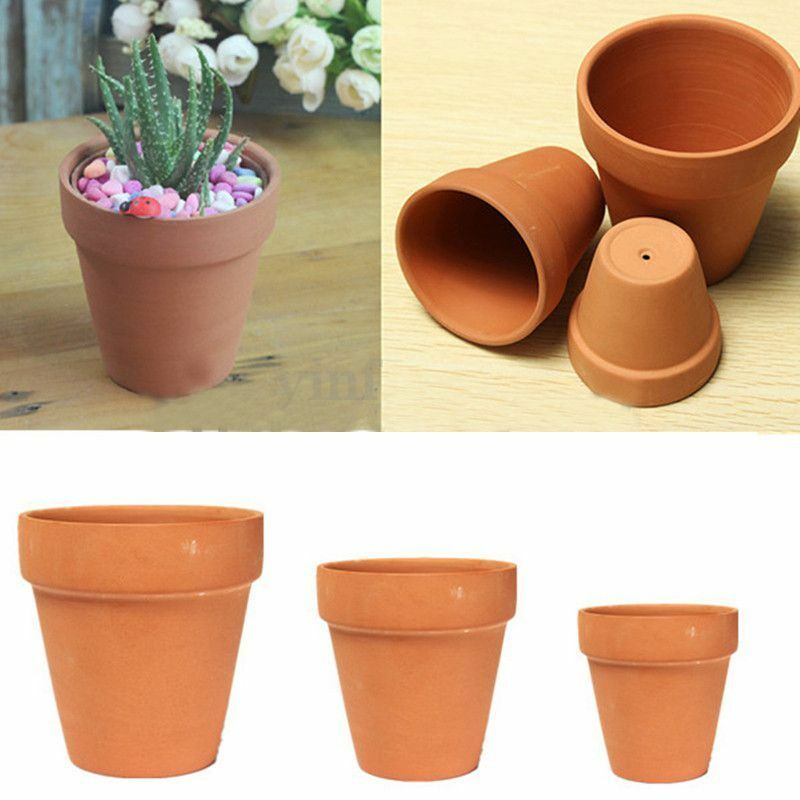 1 3pcs terracotta clay flower pot handmade ceramic for Small clay flower pots