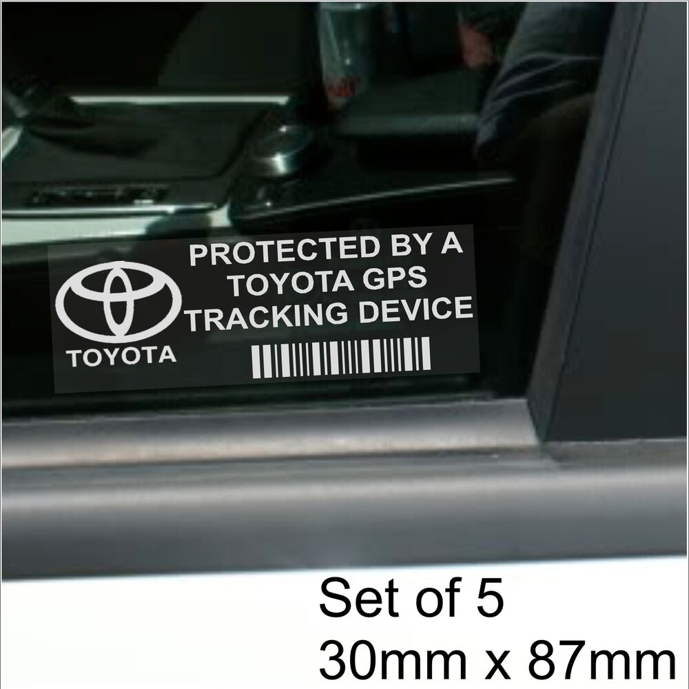 5 x toyota gps tracking device security stickers avensis. Black Bedroom Furniture Sets. Home Design Ideas
