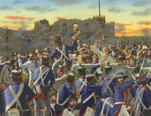 The Alamo The Battle At The Low Wall Art Print Ebay